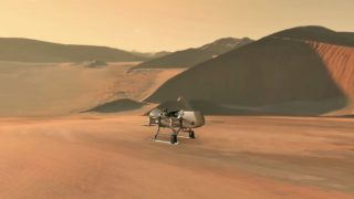 """This NASA artist's illustration released June 27, 2019 shows NASA's Dragonfly rotorcraft-lander approaching a site on Saturn's exotic moon, Titan. - Taking advantage of Titan's dense atmosphere and low gravity, Dragonfly will explore dozens of locations across the icy world, sampling and measuring the compositions of Titan's organic surface materials to characterize the habitability of Titan's environment and investigate the progression of prebiotic chemistry.Dragonfly will launch in 2026 and arrive in 2034. The rotorcraft will fly to dozens of locations on Titan looking for prebiotic chemical processes common on both Titan and Earth. Dragonfly marks the first time NASA will fly a multi-rotor vehicle for science on another planet; it has eight rotors and flies like a large drone. It will take advantage of Titan's dense atmosphere – four times denser than Earth's – to become the first vehicle ever to fly its entire science payload to new places for repeatable and targeted access to surface materials. (Photo by HO / NASA / AFP) / RESTRICTED TO EDITORIAL USE - MANDATORY CREDIT """"AFP PHOTO / NASA/HANDOUT"""" - NO MARKETING - NO ADVERTISING CAMPAIGNS - DISTRIBUTED AS A SERVICE TO CLIENTS"""