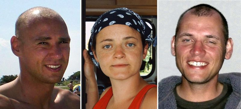 """A combo of handout photos released by German federal criminal police office  on May 8, 2012 shows (L to R) Uwe Mundlos, Beate Zschaepe and Uwe Boehnhardt, alleged members of the farright terror cell National Socialist Underground (NSU). AFP PHOTO / BUNDESKRIMINALAMT  RESTRICTED TO EDITORIAL USE - MANDATORY CREDIT """"AFP PHOTO / BUNDESKRIMINALAMT """" - NO MARKETING NO ADVERTISING CAMPAIGNS - DISTRIBUTED AS A SERVICE TO CLIENTS (Photo by Bundeskriminalamt / BUNDESKRIMINALAMT / AFP)"""