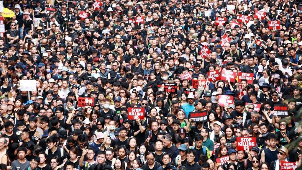 2 million people join a march in Hong Kong on Sunday June 16, 2019 to demand the withdrawal of the China Extradition Bill. (Sunny Mok/EYEPRESS)