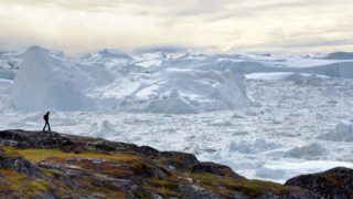 Greenland, West Coast, Disko Bay, Ilulissat, hiker on the edge of the icefjord listed as World heritage by UNESCO that is the mouth of the Sermeq Kujalleq Glacier (Jakobshavn Glacier)