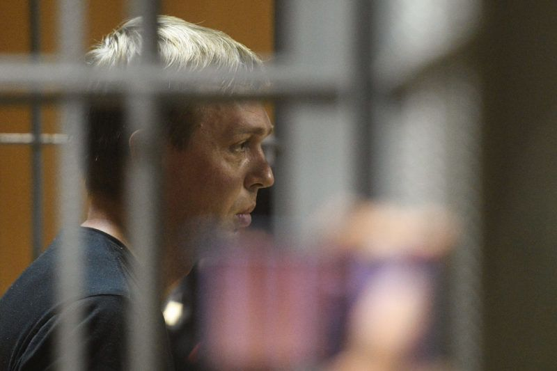 5909977 08.06.2019 Russian investigative journalist for Meduza website Ivan Golunov waits in a court room, in Moscow's Nikulinsky Court, Russia. Golunov was detained on suspicion of involvement in drug trafficking on June 6. Eugene Odinokov / Sputnik