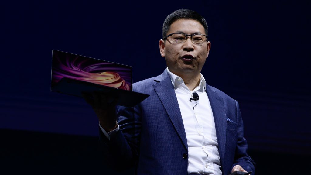 BARCELONA, SPAIN - FEBRUARY 26: Richard Yu, the CEO of Huawei's consumer products shows the new MateBook X Pro during the second day at the mobile World Congress 2019 in Barcelona, Spain on February 26, 2019. Adria Puig / Anadolu Agency