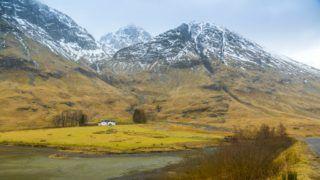 Isolated cottage in the Glencoe Valley during winter snow storm, Glencoe, Highland Region, Scotland, United Kingdom, Europe