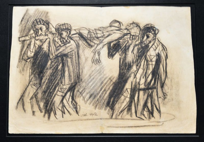'Returning from Work' (paper, ink) by Mieczyslaw Koscielniak. In the Hell of the German concentration camps there were also art works made by prisoners. For the first time nearly 200 drawings, graphics and images made by prisoners of Auschwitz-Birkenau, are presented to the public at an exhibition  'Face to face. Art in Auschwitz' in the National Museum in Krakow. On Thursday, August 17, 2017, in Krakow, Poland. (Photo by Artur Widak/NurPhoto)