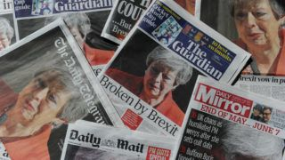 """An arrangement of UK daily newspapers photographed as an illustration in London on May 25, 2019 shows front page headlines reporting on the resignation speech of Britain's Prime Minister Theresa May. - Beleaguered British Prime Minister Theresa May announced on May 24 that she will resign on June 7 following a Conservative Party mutiny over her remaining in power. All the UK papers carried the story on their front pages with headlines like the Guardian's """"Broken by Brexit"""", the Daily Mail's """"A Crying Shame"""" and the Times' """"It all ends in tears"""". (Photo by DANIEL SORABJI / AFP)"""