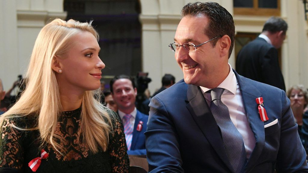"""Leader of the austrian freedom party Heinz Christian Strache with his wife Philippa due to the Austrian National Day in Vienna, Austria on 2016/10/24. (Photo credit should read """"HELMUT FOHRINGER/APA-PictureDesk via AFP"""")"""