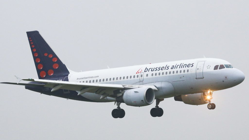 Brussels Airlines Airbus A319-100 airplane with registration OO-SSB landing at Brussels National Zavantem airport BRU EBBR in Belgium. Brussels Airlines is the flag carrier of Belgium, a Lufthansa Group airline and member of Star Alliance. (Photo by Nicolas Economou/NurPhoto)