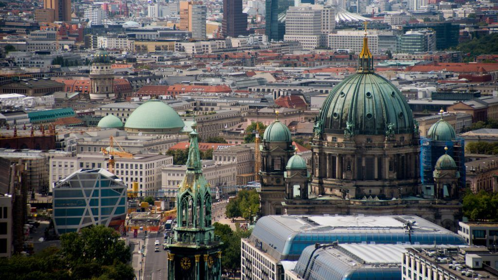 Panoramic view of the city of Berlin, August 2, 2018. (Photo by Alberto Pezzali/NurPhoto)
