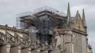 Cathedral of Notre-Dame de Paris after the fire. Paris, 7 June 2019. Cathedrale de Notre-Dame de Paris après l'incendie. Paris, 7 juin 2019.
