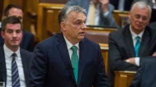 Budapest, 2019. május 27. Orbán Viktor miniszterelnök (k) felszólal az Országgyûlés plenáris ülésén 2019. május 27-én. MTI/Balogh Zoltán
