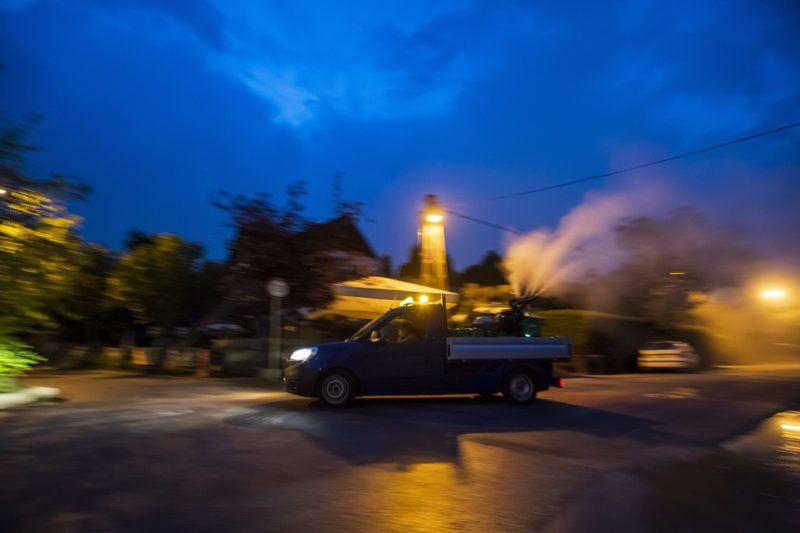 Budapest, 2019. június 21.  Szakemberek szúnyoggyérítést végeznek Budatétényben, a Hárosi Duna közelében 2019. június 20-án. MTI/Mónus Márton