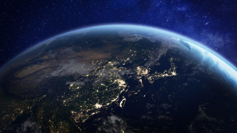 Asia at night from space with city lights showing human activity in China, Japan, South Korea, Taiwan and other countries, 3d rendering of planet Earth, elements from NASA (Asia at night from space with city lights showing human activity in China, Jap