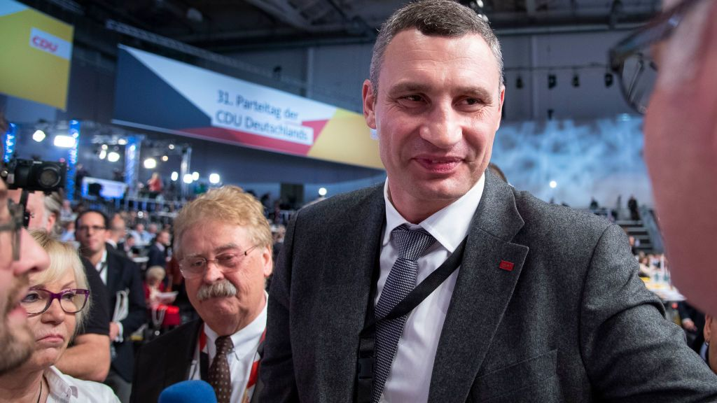 HAMBURG, GERMANY - DECEMBER 07: Wladimir Klitschko attends the federal congress of the German Christian Democrats (CDU) on December 7, 2018 in Hamburg, Germany. German Chancellor and leader of the German Christian Democrats (CDU) Angela Merkel will step down as leader of the party following an 18-year reign. CDU delegates will elect today a successor from a choice of three candidates: Annegret Kramp-Karrenbauer, whom Merkel favors, Friedrich Merz and Jens Spahn. (Photo by Thomas Lohnes/Getty Images)