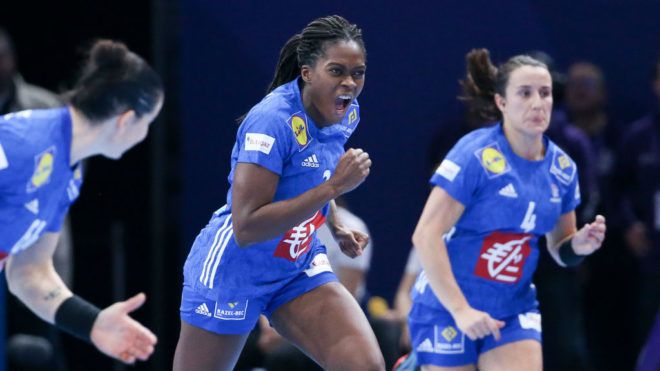 PARIS, FRANCE - DECEMBER 16: Gnonsiane Niombla of France celebrates her goal during the EHF Women's Euro 2018 Final match between Russia and France at AccorHotels Arena on December 16, 2018 in Paris, France. (Photo by Jean Catuffe/Getty Images)