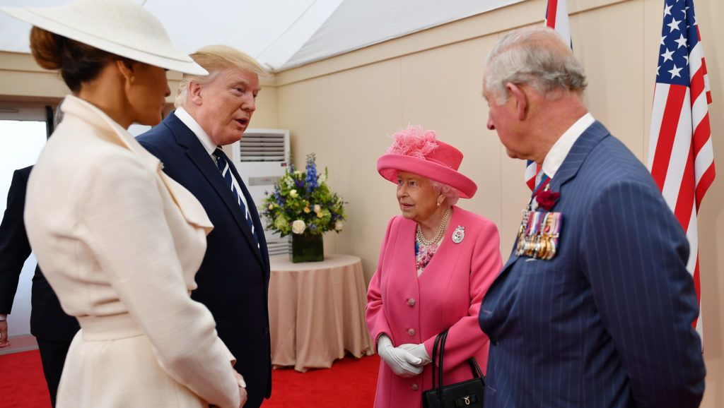PORTSMOUTH, ENGLAND - JUNE 05:  Prince Charles, Prince of Wales, Queen Elizabeth II, President of the United States, Donald Trump and First Lady of the United States, Melania Trump prepare to meet veterans during the D-day 75 Commemorations on June 05, 2019 in Portsmouth, England. The political heads of 16 countries involved in World War II joined Her Majesty, The Queen on the UK south coast for a service to commemorate the 75th anniversary of D-Day. Overnight it was announced that all 16 had signed an historic proclamation of peace to ensure the horrors of the Second World War are never repeated. The text has been agreed by Australia, Belgium, Canada, Czech Republic, Denmark, France, Germany, Greece, Luxembourg, Netherlands, Norway, New Zealand, Poland, Slovakia, the United Kingdom and the United States of America.   (Photo by Jeff J Mitchell - WPA Pool /Getty Images)