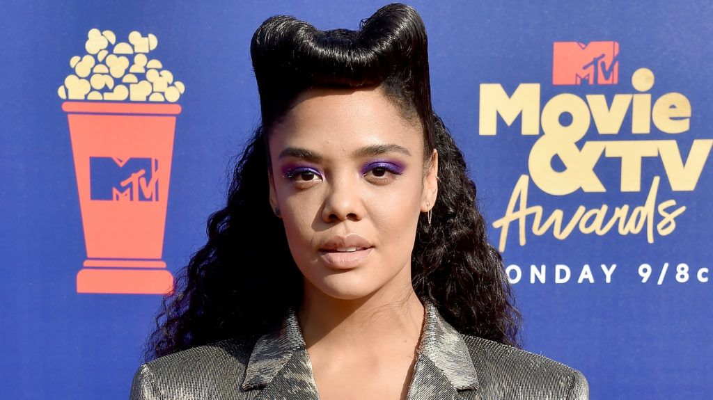 SANTA MONICA, CA - JUNE 15:  Tessa Thompson arrives at the 2019 MTV Movie And TV Awards at Barker Hangar on June 15, 2019 in Santa Monica, California.  (Photo by Gregg DeGuire/FilmMagic)