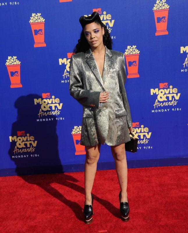 SANTA MONICA, CA - JUNE 15:  Tessa Thompson arrives for the 2019 MTV Movie And TV Awards held at Barker Hangar on June 15, 2019 in Santa Monica, California.  (Photo by Albert L. Ortega/Getty Images)