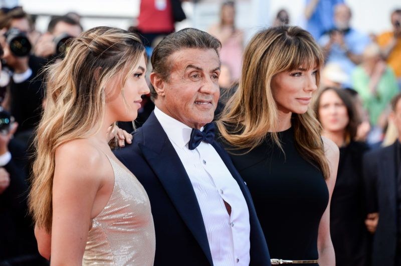 CANNES, FRANCE - MAY 25: (R-L) Jennifer Flavin, Sylvester Stallone and Sistine Rose Stallone attends the Closing Ceremony Red Carpet during the 72nd annual Cannes Film Festival on May 25, 2019 in Cannes, France. (Photo by Stephane Cardinale - Corbis/Corbis via Getty Images)