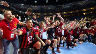 COLOGNE, GERMANY - JUNE 01: Players of Vardar celebrate after the VELUX EHF Champions League final 4 match between Barca Lassa v HC Vardar at Lanxess Arena on June 01, 2019 in Cologne, Germany. (Photo by Juergen Schwarz/Getty Images)