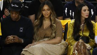 OAKLAND, CALIFORNIA - JUNE 05:  Jay-Z and Beyonce attend Game Three of the 2019 NBA Finals between the Golden State Warriors and the Toronto Raptors at ORACLE Arena on June 05, 2019 in Oakland, California. NOTE TO USER: User expressly acknowledges and agrees that, by downloading and or using this photograph, User is consenting to the terms and conditions of the Getty Images License Agreement. (Photo by Ezra Shaw/Getty Images)
