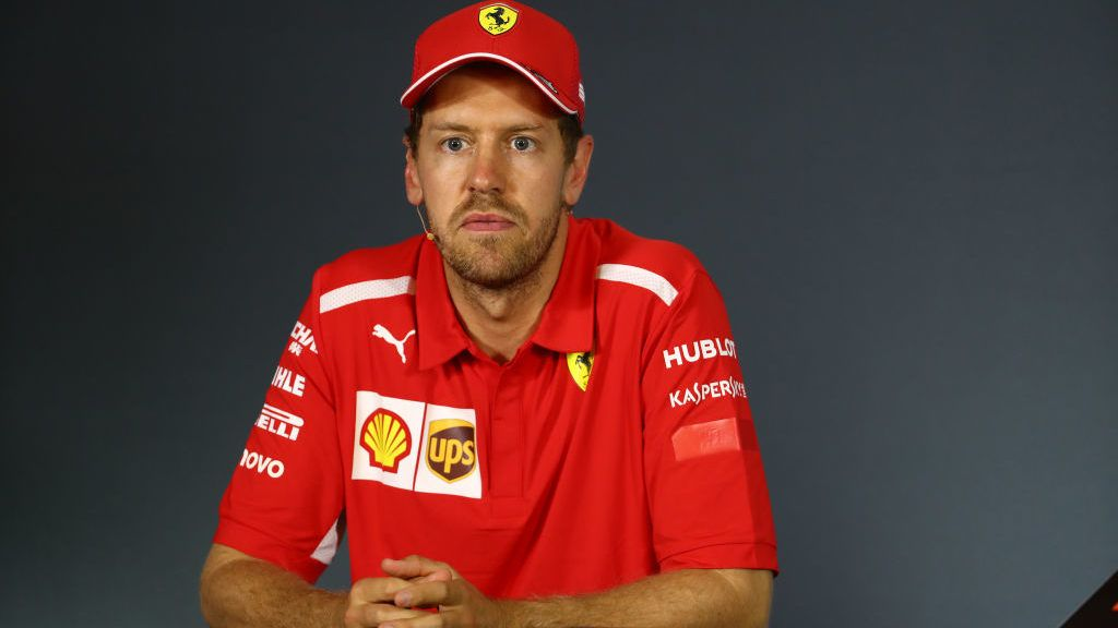 MONTREAL, QUEBEC - JUNE 09: Sebastian Vettel of Germany and Ferrari talks in the press conference after the F1 Grand Prix of Canada at Circuit Gilles Villeneuve on June 09, 2019 in Montreal, Canada. (Photo by Mark Thompson/Getty Images)