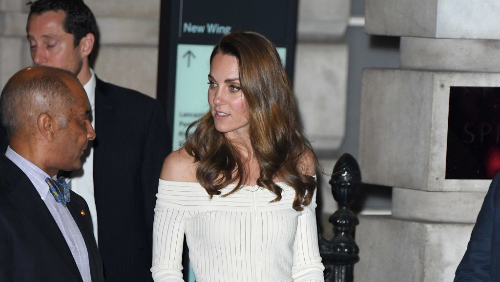 LONDON, ENGLAND - JUNE 12: Catherine, Duchess of Cambridge departs after attending the first annual gala dinner in recognition of Addiction Awareness Week at Phillips Gallery on June 12, 2019 in London, England. HRH is Patron of Action on Addiction.  (Photo by Karwai Tang/WireImage)