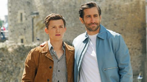 """LONDON, ENGLAND - JUNE 17: Tom Holland (L) and Jake Gyllenhaal attend a photocall for """"Spider-Man: Far From Home"""" at the Tower of London on June 17, 2019 in London, England. (Photo by David M. Benett/Dave Benett/WireImage)"""