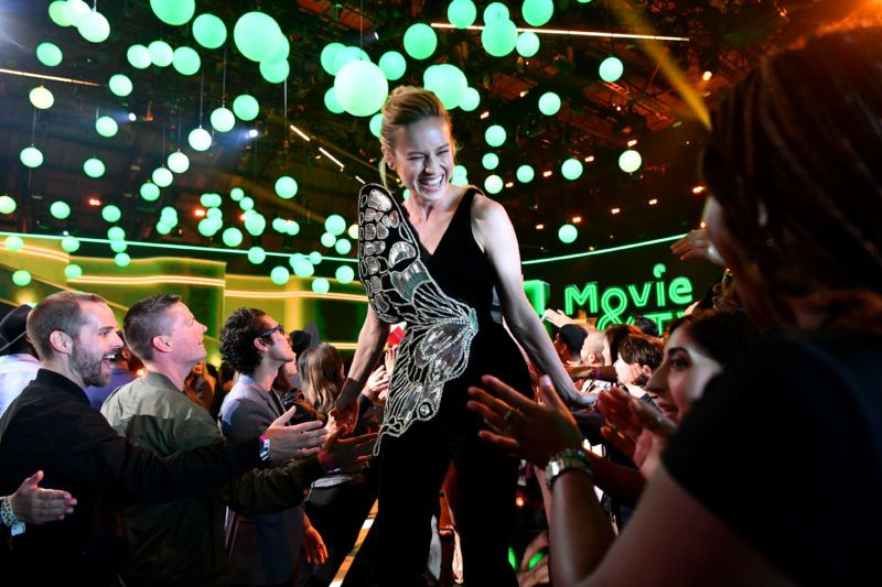 SANTA MONICA, CALIFORNIA - JUNE 15: Brie Larson attends the 2019 MTV Movie and TV Awards at Barker Hangar on June 15, 2019 in Santa Monica, California. (Photo by Emma McIntyre/VMN19/Getty Images for MTV)