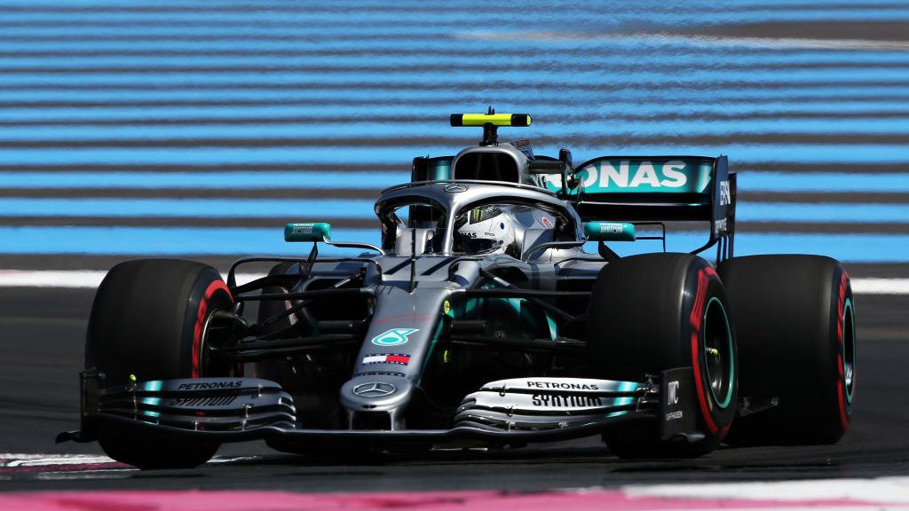 LE CASTELLET, FRANCE - JUNE 21: Valtteri Bottas driving the (77) Mercedes AMG Petronas F1 Team Mercedes W10 on track during practice for the F1 Grand Prix of France at Circuit Paul Ricard on June 21, 2019 in Le Castellet, France. (Photo by Charles Coates/Getty Images)