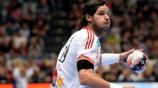 """COLOGNE, GERMANY - MAY 31:  Laszlo Nagy of Veszprem controls the ball during the """"VELUX EHF FINAL4"""" final match between FC Barcelona and MKB-MVM Veszprem at Lanxess Arena on May 31, 2015 in Cologne, Germany.  (Photo by Sascha Steinbach/Bongarts/Getty Images)"""