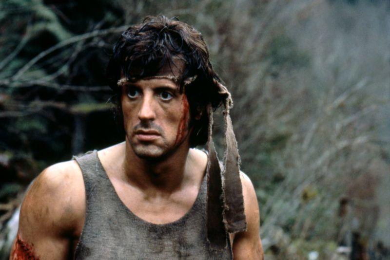 American actor Sylvester Stallone plays Rambo on the set of First Blood based on the novel by Canadian David Morrell and directed by Ted Kotcheff. (Photo by Sunset Boulevard/Corbis via Getty Images)