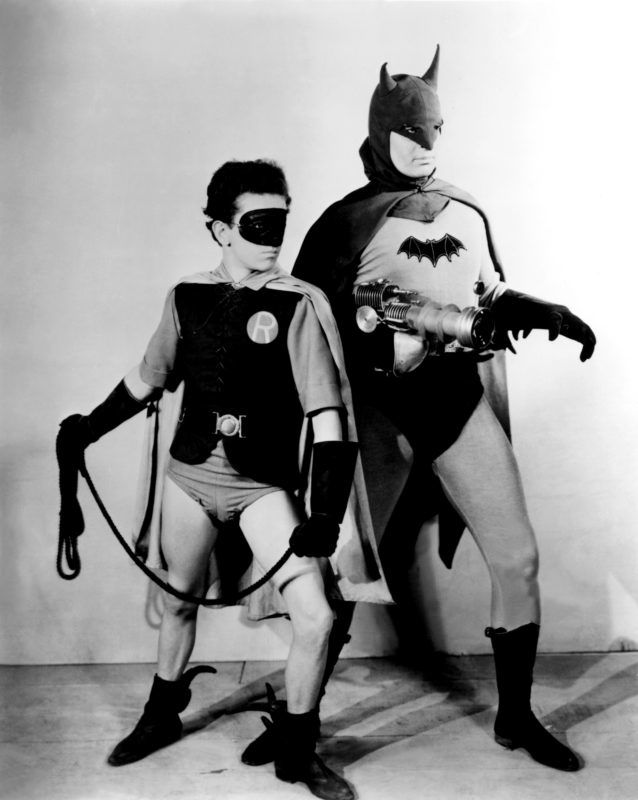 American actors Douglas Croft (Robin) and Lewis Wilson (Batman) on the set of Batman, directed by Lambert Hillyer. (Photo by Columbia Pictures/Sunset Boulevard/Corbis via Getty Images)