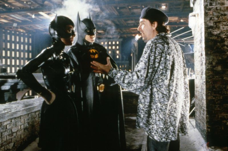 American actors Michelle Pfeiffer and Michael Keaton with director Tim Burton on the set of his movie Batman Returns. (Photo by Warner Bros. Pictures/Sunset Boulevard/Corbis via Getty Images)