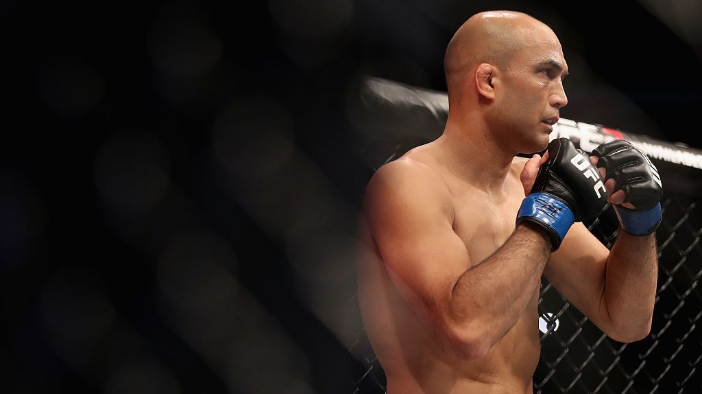 PHOENIX, AZ - JANUARY 15:  BJ Penn prepares to fight Yair Rodriguez (not picuted) during the UFC Fight Night event at the at Talking Stick Resort Arena on January 15, 2017 in Phoenix, Arizona.  (Photo by Christian Petersen/Getty Images)