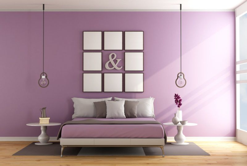 Contemporary bedroom with double bed ,nightstand and blank frame on wall - 3D Rendering