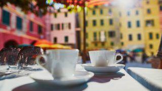 Coffee cups in cafe in Vernazza, Cinque Terre, Liguria, Italy