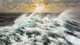 Sea wave in the Atlantic Ocean during storm.