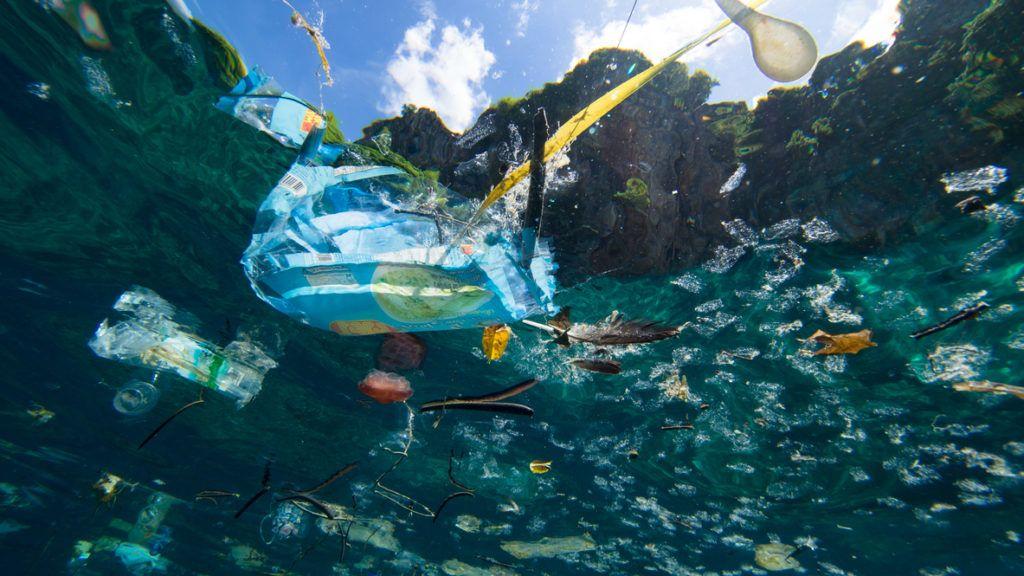 Plastic debris floating on the ocean surface, shot underwater.