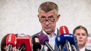 Prága, 2019. május 27. Andrej Babis cseh miniszterelnök, az ANO párt vezetõje sajtótájékoztatót tart a párt központjában az európai parlamenti választások estéjén Prágában 2019. május 26-án. MTI/EPA/Martin Divisek
