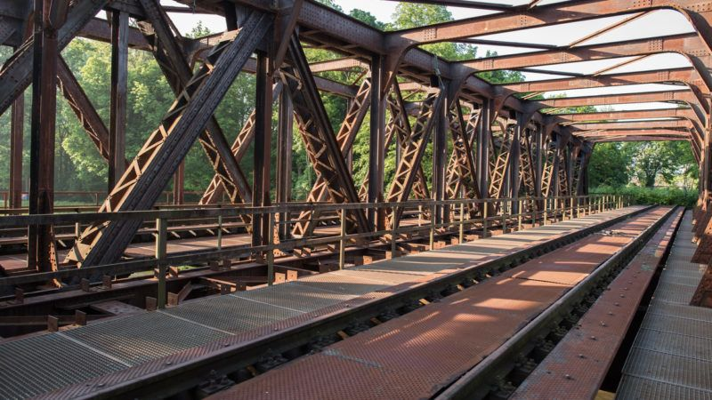 old abandoned railway bridge in switzerland.