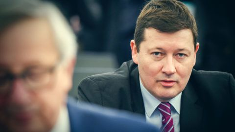 General Secretary of the European Commission Martin Selmayr is pictured during a plenary session at the European Parliament on March 13, 2018 in Strasbourg, eastern France. (Photo by FREDERICK FLORIN / AFP)