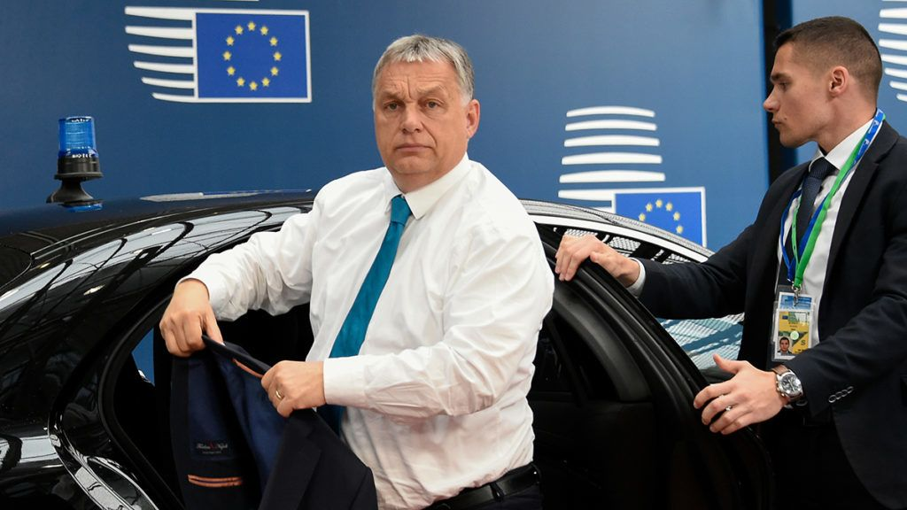 Hungary's Prime Minister Viktor Orban (C) arrives for a European Union (EU) summit at EU Commission Headquarters in Brussels on May 28, 2019. (Photo by JOHN THYS / various sources / AFP)
