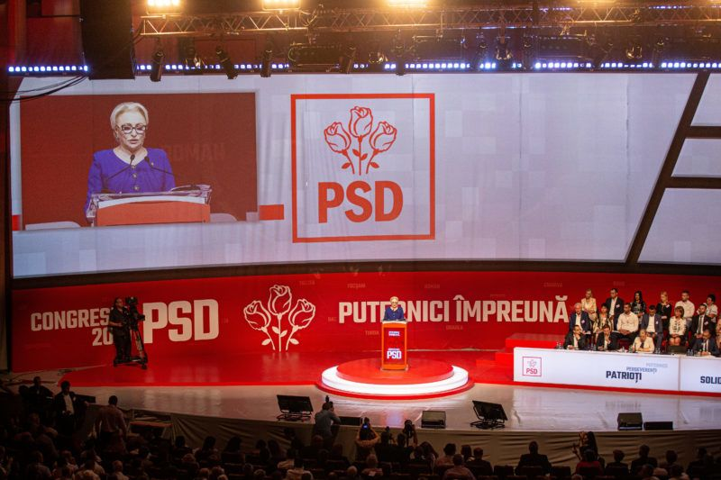 Viorica Dancila, Prime Minister and interim chief of the party, gives a speech during an extraordinary congress of the ruling left-wing Social Democrats party (PSD) on June 29, 2019 in Bucharest, after the party's leader has been imprisoned for corruption. (Photo by Adrian CATU / AFP)