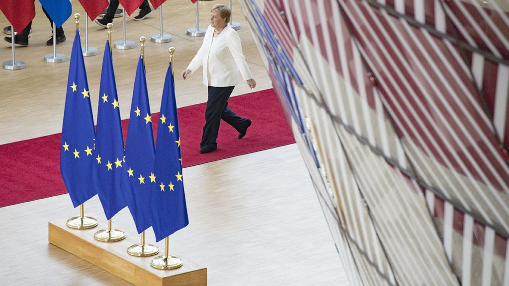 Germany's Chancellor Angela Merkel arrives for an European Council Summit at The Europa Building in Brussels, on June 30, 2019. - Deadlocked EU leaders meet for a rare weekend summit seeking to fill senior European positions and settle a battle that has split key allies France and Germany. (Photo by GEOFFROY VAN DER HASSELT / AFP)