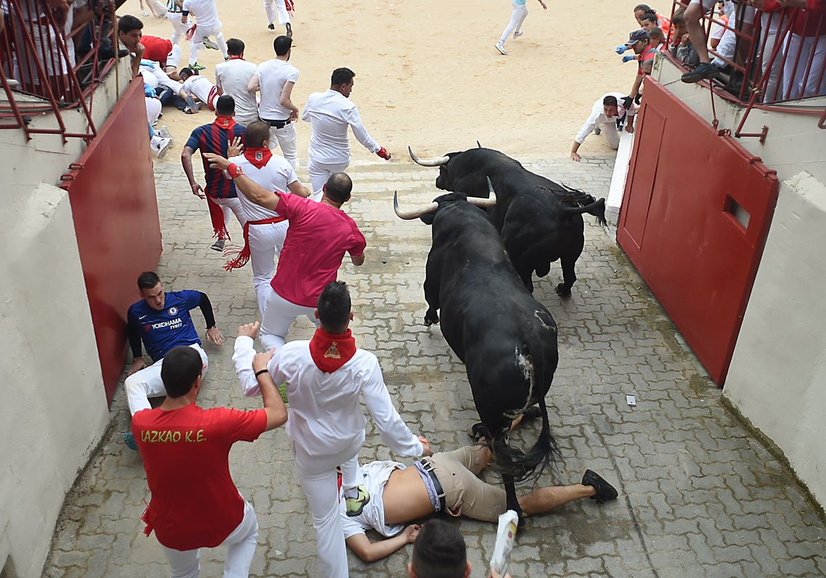 Participants run next to Puerto de San Lorenzo fighting bulls during the first bullrun of the San Fermin festival in Pamplona, northern Spain on July 7, 2019. - On each day of the festival six bulls are released at 8:00 a.m. (0600 GMT) to run from their corral through the narrow, cobbled streets of the old town over an 850-meter (yard) course. Ahead of them are the runners, who try to stay close to the bulls without falling over or being gored. (Photo by JAIME REINA / AFP)