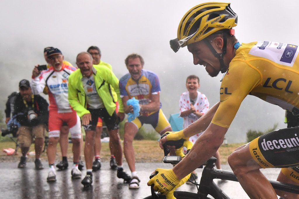 France's Julian Alaphilippe, wearing the overall leader's yellow jersey rides up to Foix Prat d'Albis during the fifteen stage of the 106th edition of the Tour de France cycling race between Limoux and Foix Prat d'Albis, in Foix Prat d'Albis on July 21, 2019. (Photo by Marco Bertorello / AFP)