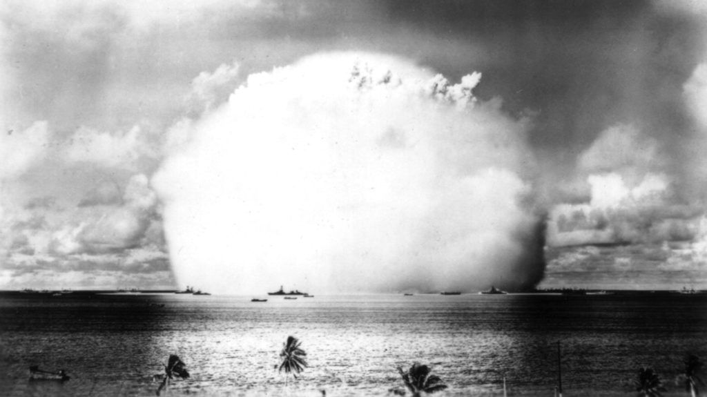 5th nuclear bomb explosion in Bikini, (Marshall Islands), photographed automatically from a very near island. July 25, 1956 United States National Archives. Washington