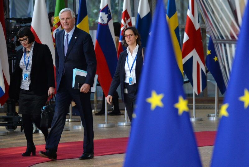5843768 10.04.2019 European Union's chief Brexit negotiator Michel Barnier arrives at an extraordinary European Union leaders summit to discuss Brexit, in Brussels. Alexey Vitvitsky / Sputnik