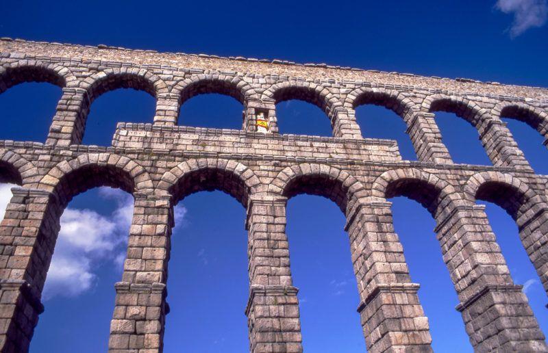 Spain, Castilla Leon, Segovia, Roman aqueduct.