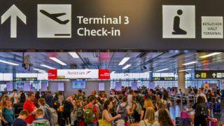 "Feature - Vienna International Airport - in Schwechat, Austria, on July 11, 2019. sign - 20190711_PD1718(Photo credit should read ""HERBERT NEUBAUER/APA-PictureDesk via AFP"")"